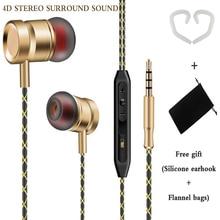 Metalen Zuiger Oortelefoon FG003 Stereo Bass Hoofdtelefoon Oorhaak Sport Wired Oordopjes Met Microfoon Voor Xiaomi Huawei Honor Telefoon Mp3