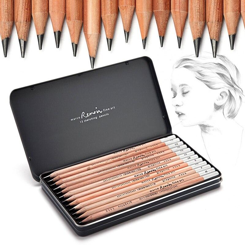 MARCO de lápiz de carbón para bocetos, suministros de Arte de lápiz...