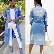WeiYao Autumn Winter Women Sexy Ripped Denim Jackets 2021 Vintage Casual Long Jean Jacket Female Plu