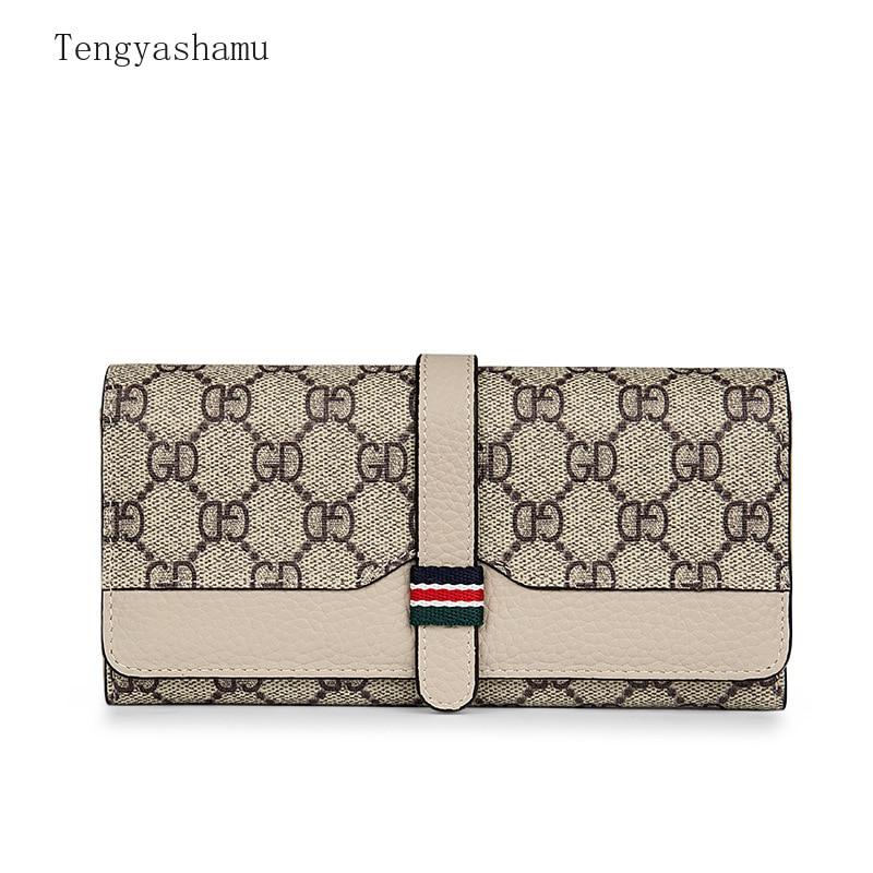 Designer Luxury Brand Women Fashion Wallet Genuine Leather Female Cowhide Clutch Bag Card Holder Lad