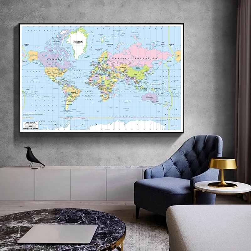 magic world map wallpaper wall stickers for kids rooms bedroom sticker painting poster home decoration accessories A2 Size The World Map Canvas Painting Wall Art Poster Decorative Picture Wall Sticker Card Home Decoration Study Supplies