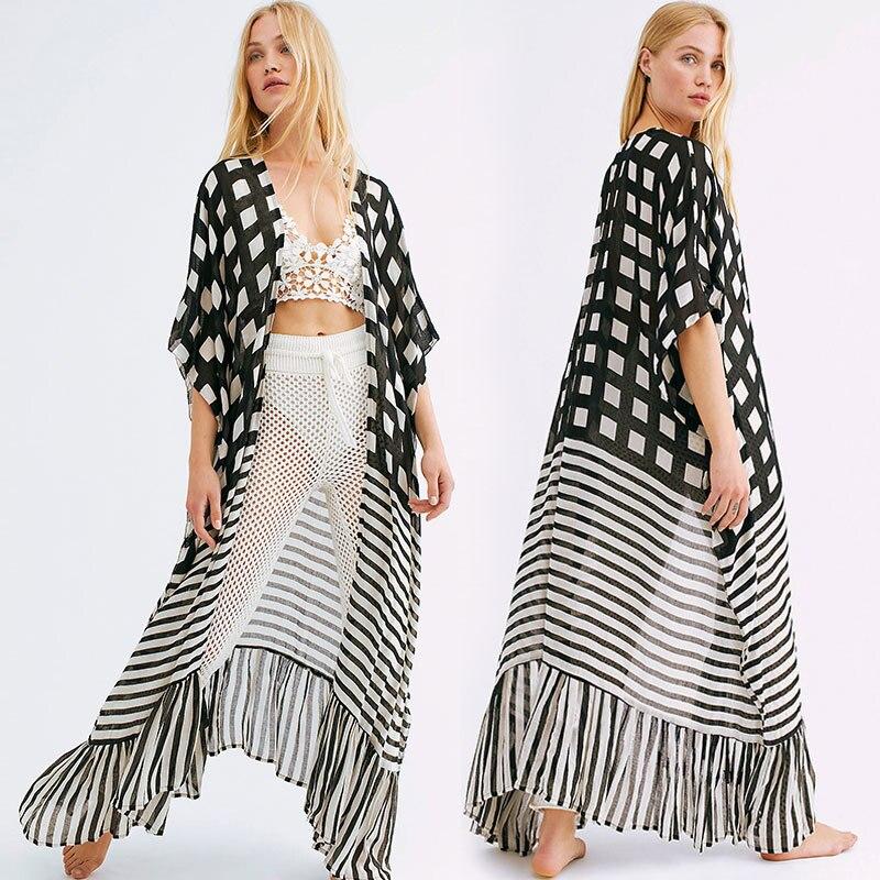 Vestido playero de gasa Sarong para mujer, Kimono playero para playa, Pareo, túnicas de playa