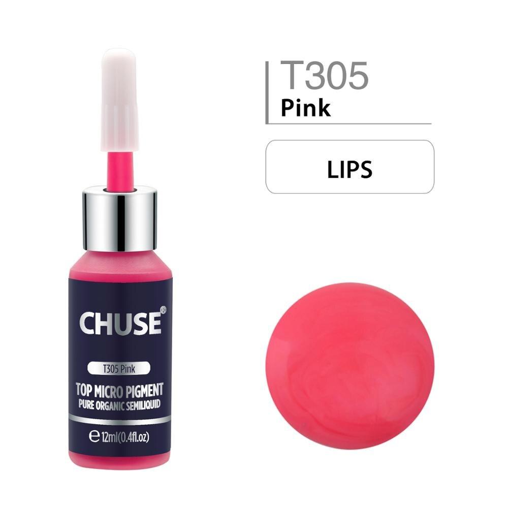 CHUSE T305 Microblading Rosa Micro pigmento para maquillaje permanente tatuaje tinta cosmética Color pasado SGS, DermaTest 12ml (0.4fl. oz) Tinta
