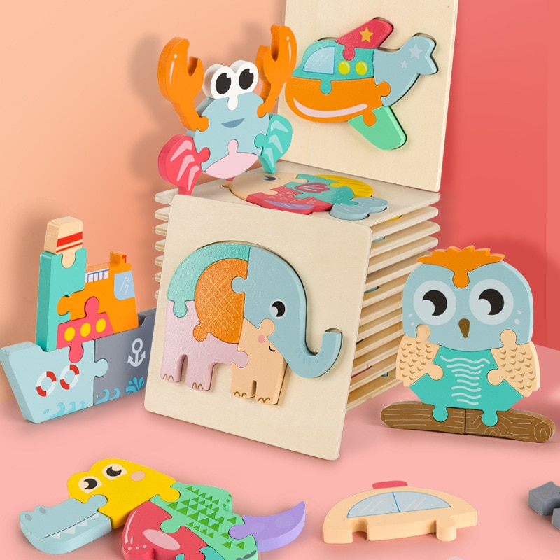 Infants and Toddlers Three-dimensional Jigsaw Toys Wooden Building Blocks Assembling Early Education Puzzle Children Baby