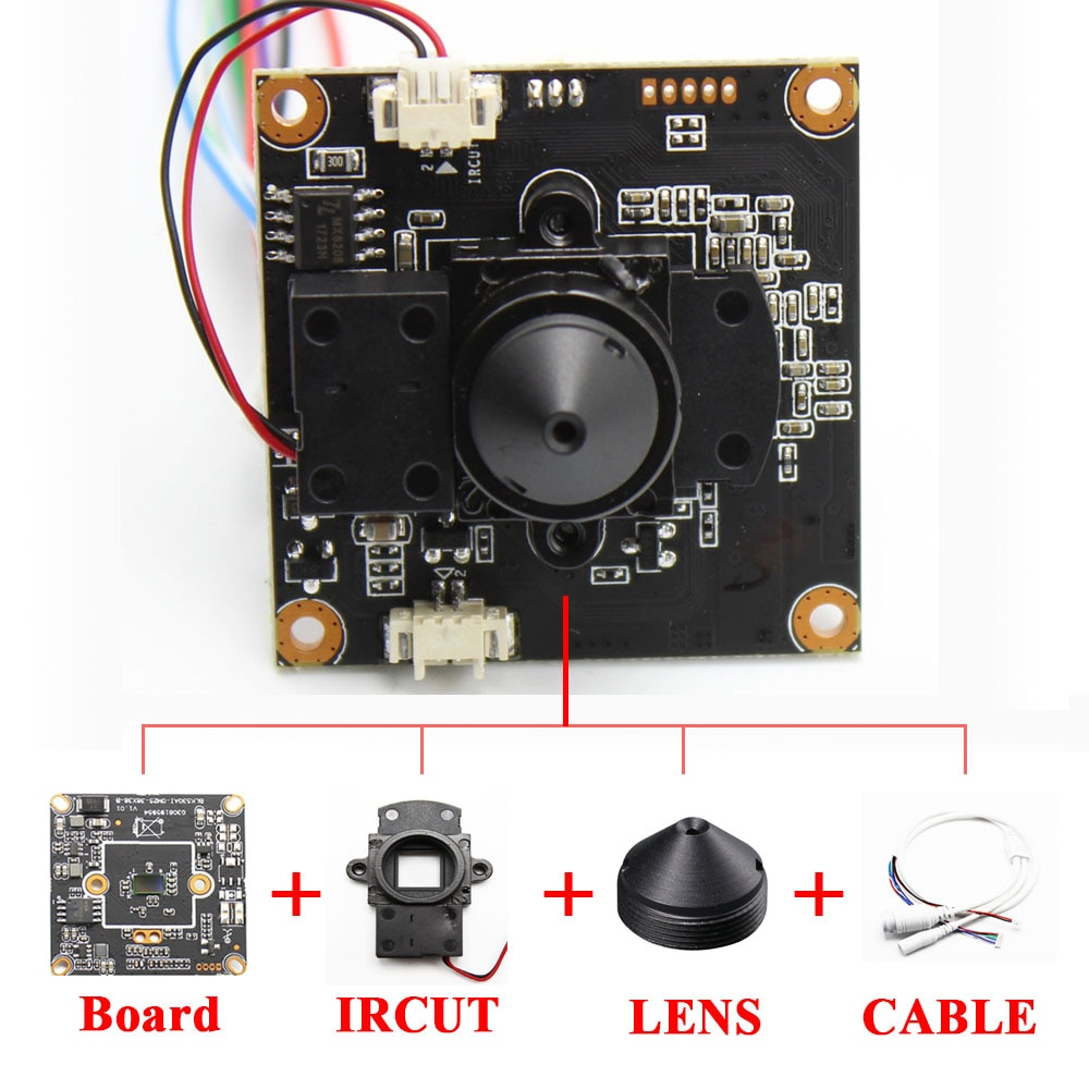 FAI DA TE CCTV IP modulo telecamera pinhole 3.7 millimetri Lens H.265 Bordo IPC 1080P Hi3516E sensore CMOS PCB Board con il IRCUT ONVIF APP XMEYE