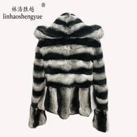 linhaoshengyue 2020 real fur 60cm lenght rex rabbit fur women coat with hood fashion warm winter freeshipping