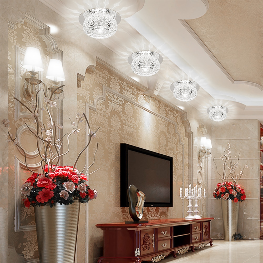 Modern LED Crystal Ceiling Light For Hallway Living Room Lamp Bedroom Kitchen White/Warm white 5W LED Ceiling Lamp