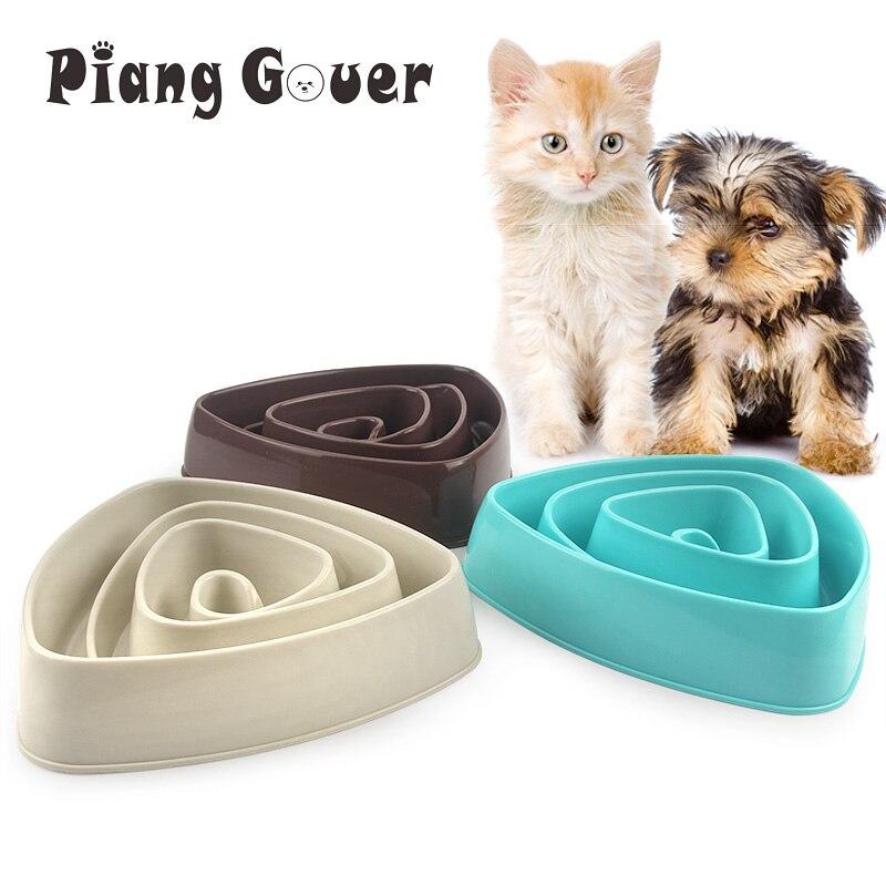 Треугольная миска для тренировки медленного питания собаки щенок котенок пластиковая еда чаша для кормления домашних животных Избегайте дросселя кормушки миски для домашних животных