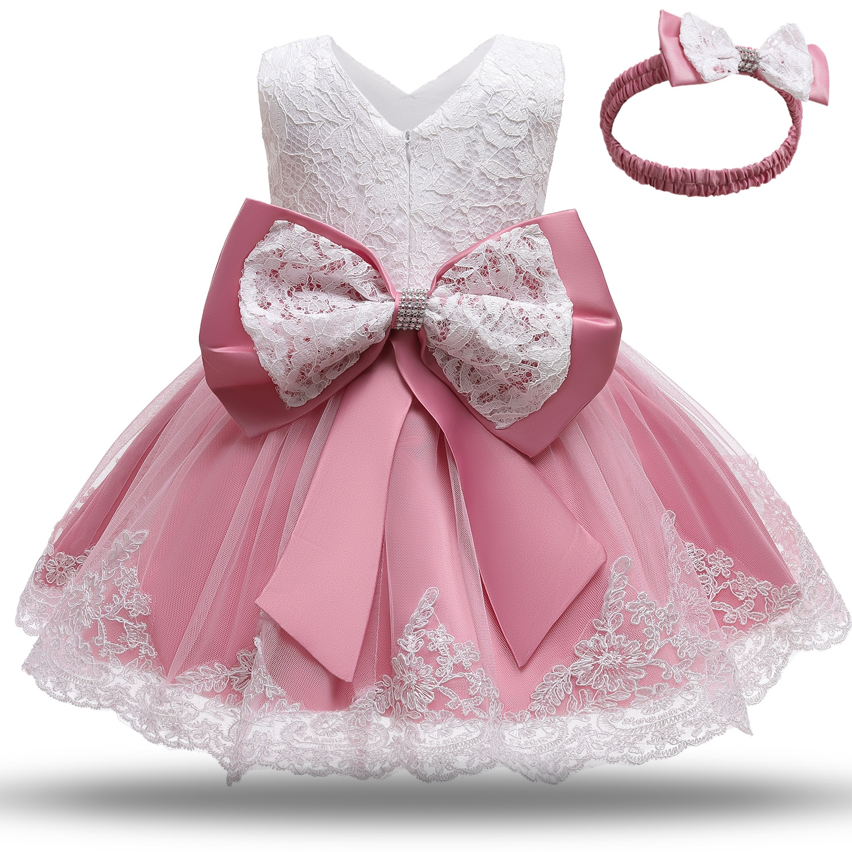 Baby Girls White Baptism Dress Newborn Princess Birthday Wear Toddler Flower Christening Ball Gown Kids Dresses for Girls 12 24M