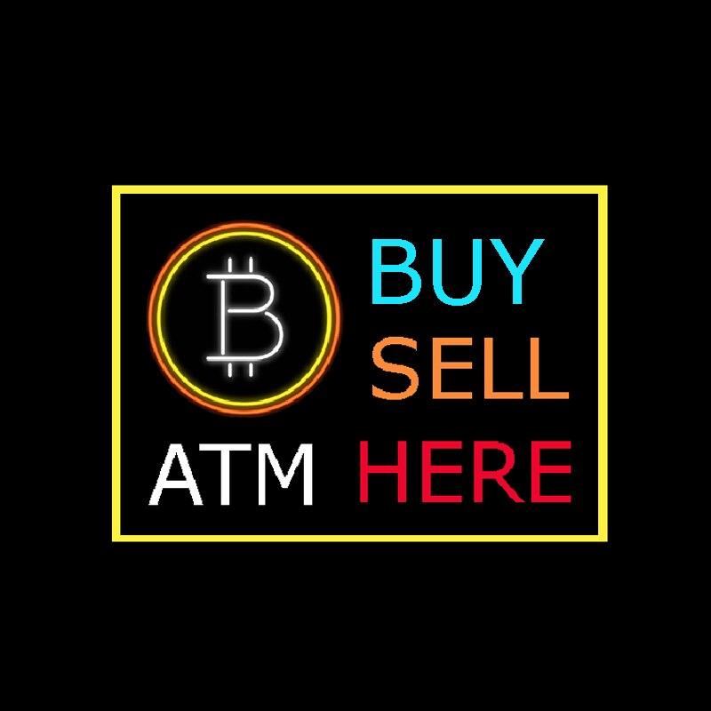 """BITCOIN ATM comprar venta aquí letrero de neón personalizado hecho a mano tubo de vidrio Real Banco tienda decoración pantalla neón signos 24 """"X 20"""""""