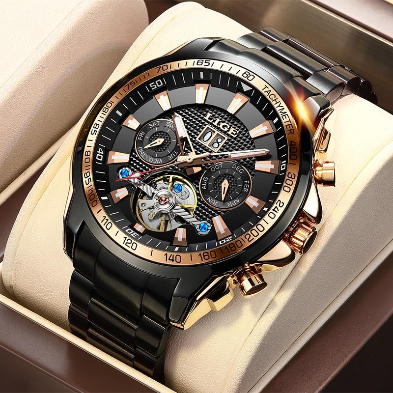 LIGE الياقوت الزجاج ساعة أوتوماتيكية الرجال العلامة التجارية الفاخرة كامل الصلب الرياضة ساعة ميكانيكية موضة 100 متر مقاوم للماء الرجال الساعات