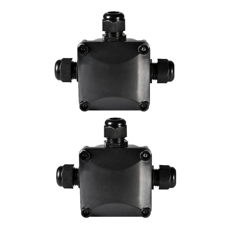RISE-Junction Box IP68 conectores de Cable de 3 vías impermeables Caja de conexiones eléctricas exterior/externo 5,5mm-10,2mm paquete de 2