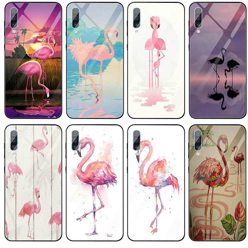 Hermosa Flamingo en Menta lago de vidrio templado para Samsung Galaxy S8 S9 S10 A6 A8 A9 A10 A20 A40 A50 A70 A80 Plus