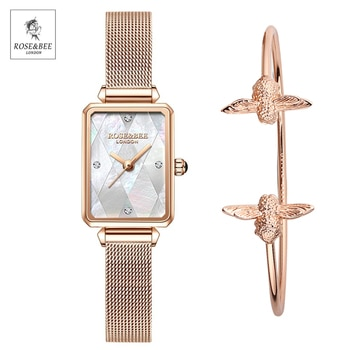2021 New White Shell Dial Rectangle Fritillary Japan Quartz Ladies Stainless Steel Mesh Waterproof Scallop Watches for Women