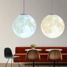 Luces colgantes de luna con impresión en 3D, luz de ambiente creativa, lámpara colgante de luna de AC110-220V de 18W para decoración del hogar y dormitorio
