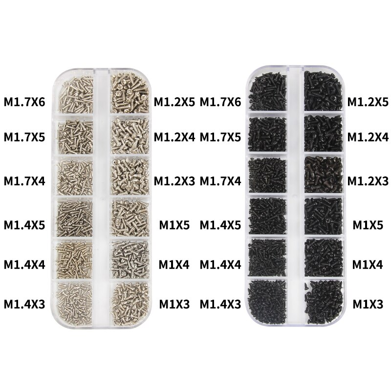 1200 Uds M1 M1.2 M1.4 M1.7 Micro gafas tornillos cabeza redonda autorroscante electrónico pequeño tornillos de madera Kit