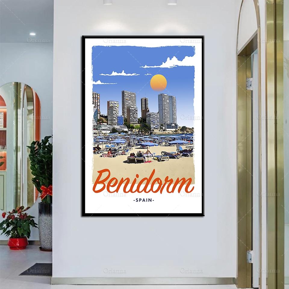 Affiche de voyage de Style rétro Vintage, affiche de peinture à l'huile et imprimée sur toile, cadre de décoration murale modulaire pour la maison