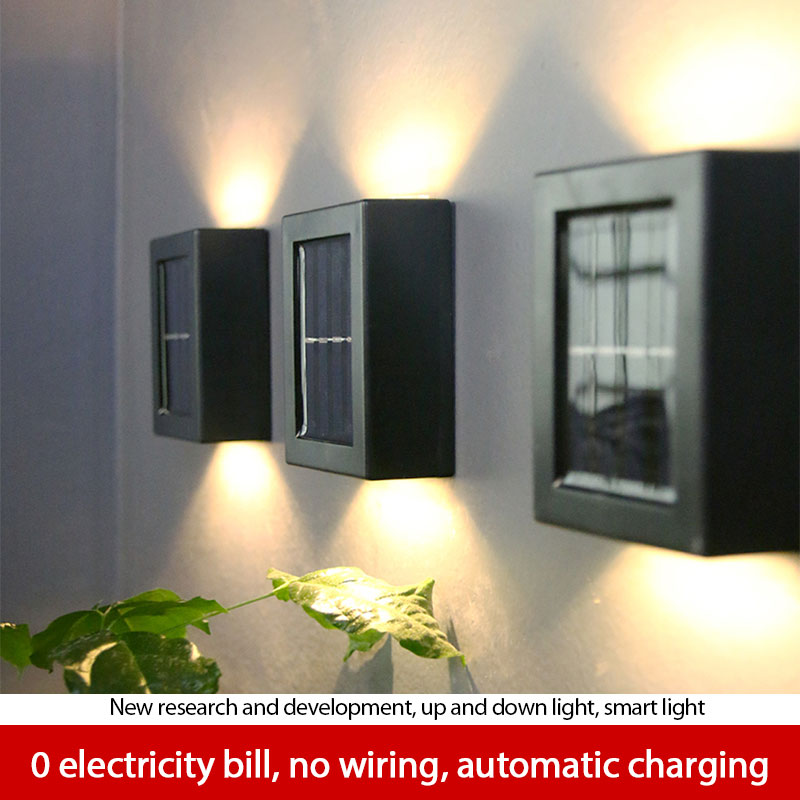 2pcs Solar Wall Lamp Outdoor Garden Waterproof Household Wall Lamp Light Up And Down Decorative Garden Lamps Hiking And Camping enlarge