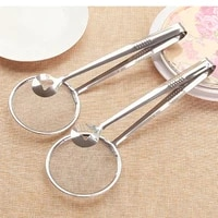 multi functional oil filter spoon with clip food kitchen oil frying bbq filter stainless steel clamp strainer kitchen tools