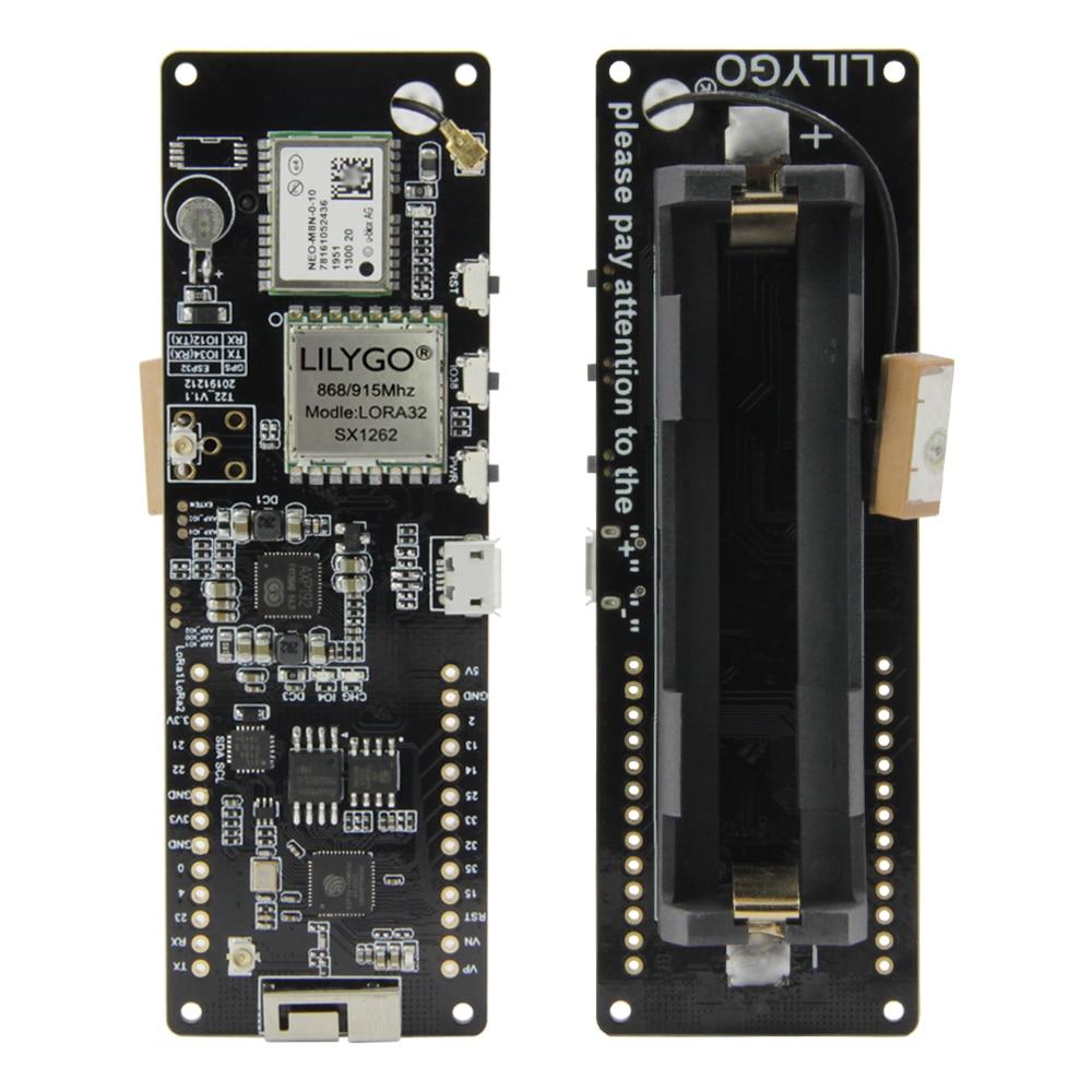 LILYGO®TTGO T-Beam V1.1 SX1262 LORA 868/915MHZ ESP32 WiFi سماعة لاسلكية تعمل بالبلوتوث وحدة تحديد المواقع NEO-M8N IPEX 18650 حامل بطارية