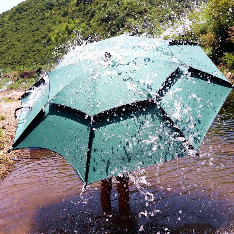 مظلة صيد سمك 2 متر 2.2 متر 2.4 متر الغراء الأسود القابل للطي طبقتين واقية من الشمس مظلة مضادة للمطر مظلة للتخييم في الهواء الطلق على الشاطئ مظلة خ...