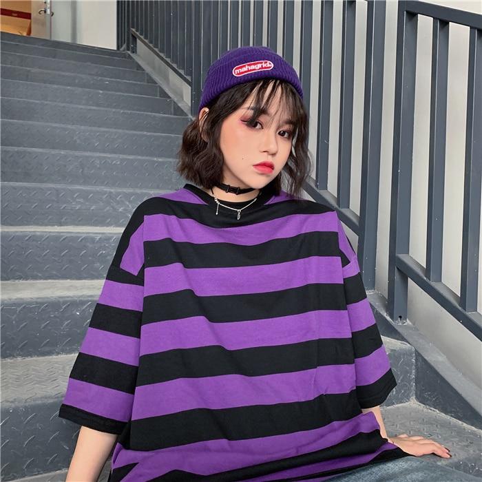 2020 novo estilo coreano harajuku camisa de fundo roxo preto listrado estudante solto manga curta feminino camiseta maré t camisa topo