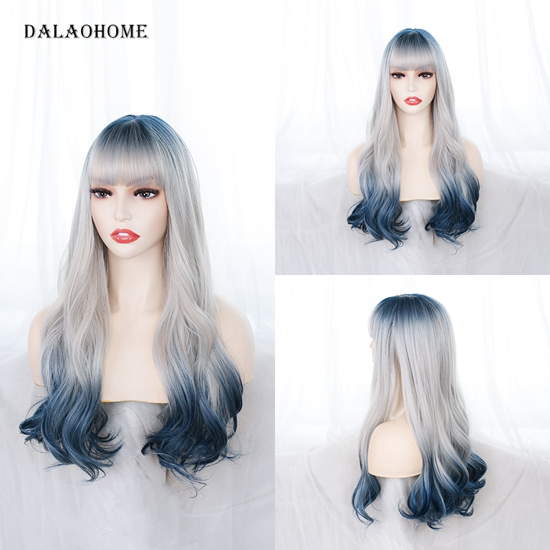 Dalaohome Long Straight Wavy Natural Woman Hair Lolita Synthetic Soft Wigs Heat Resistant Wig With Bangs For Cosplay Curly Hairs