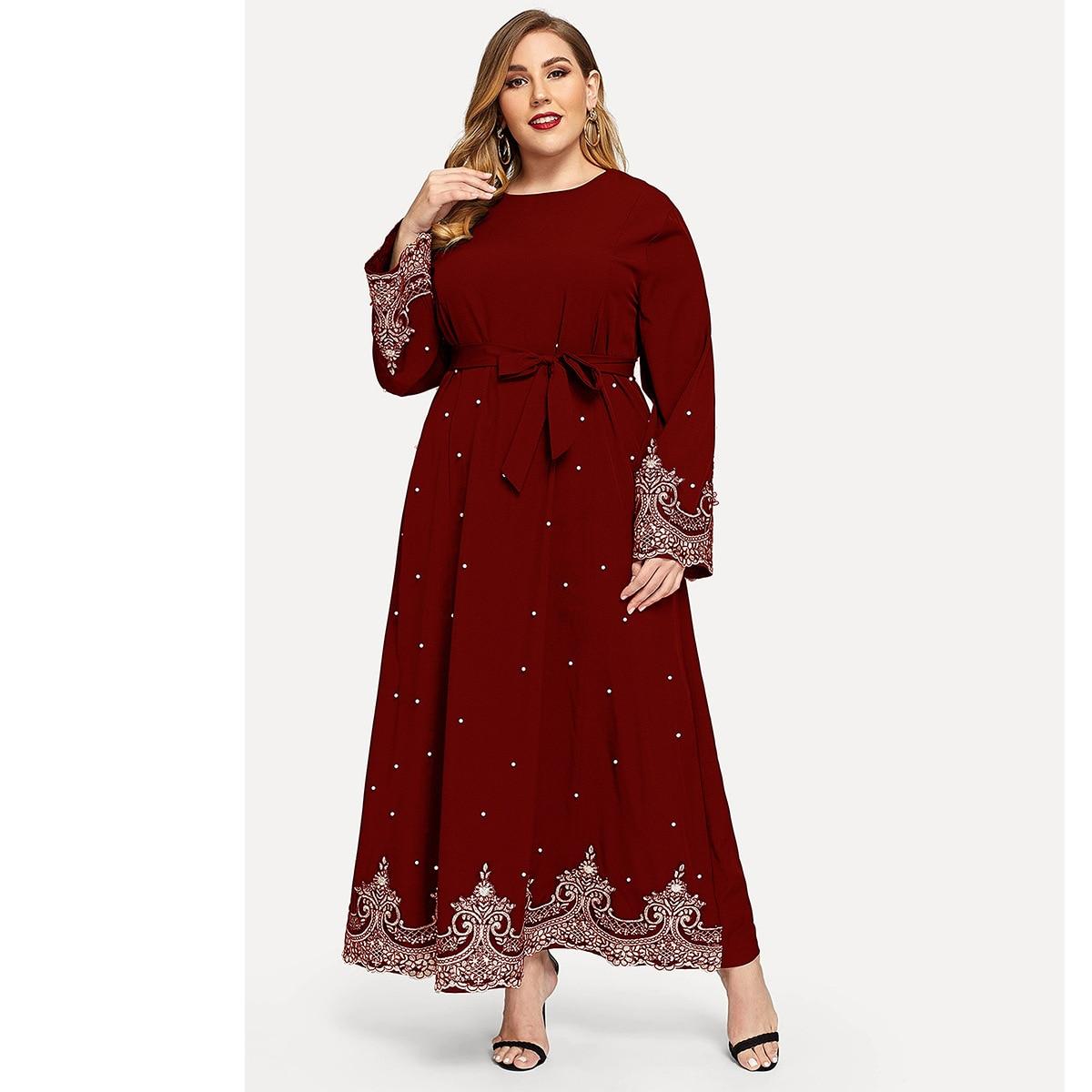Wepbel, Abaya bordado con cuentas, vestido turco de manga larga de talla grande para mujer de Ramadán, vestido musulmán, Kimono caftán de marcaín
