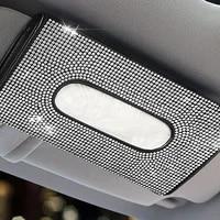 car visor mask holder leather tissue box sparkling crystals cover case glitter mask hook clip mask holder tissue holder