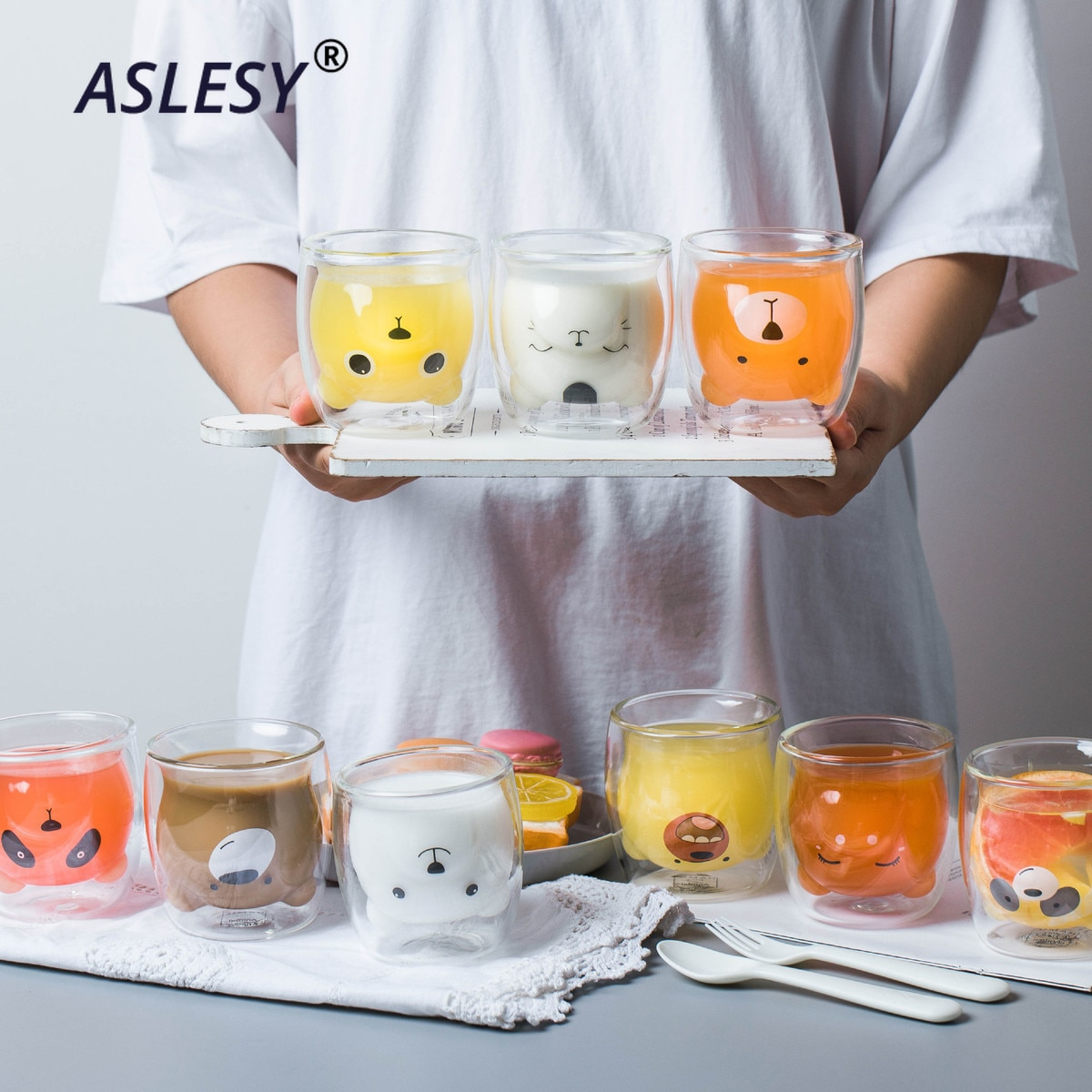 Cute Bear Shaped Double Wall Glass Mugs Resistant Kungfu Tea Mug Milk Lemon Juice Cup Drinkware Child Lover Coffee Cups Mug Gift