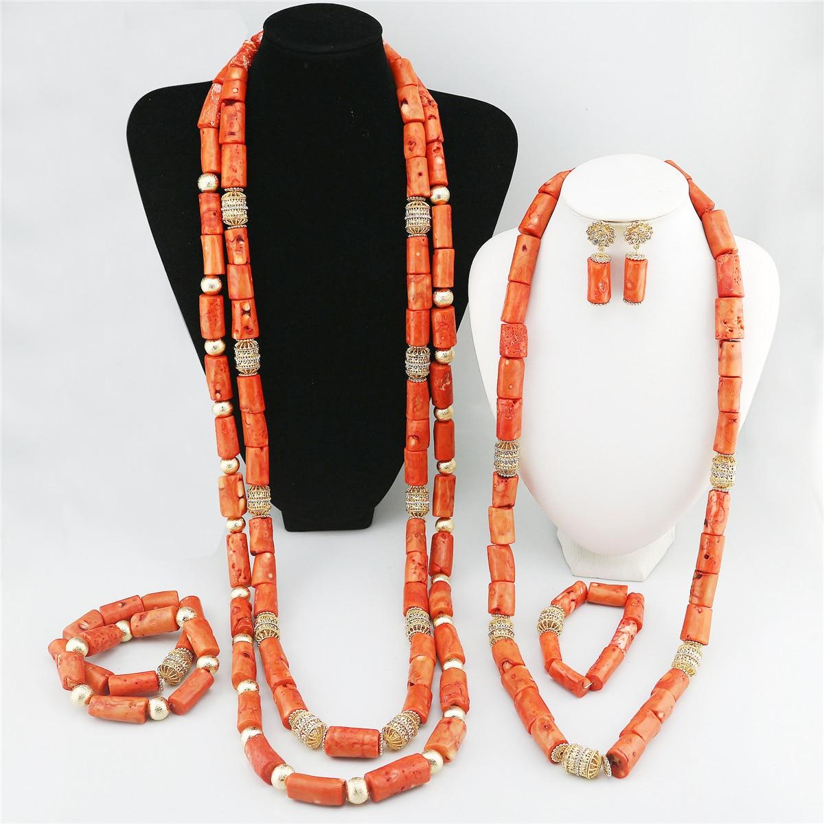 2021 عالية الجودة النيجيري الزفاف الخرز الأفريقي الزفاف زي مجوهرات بيان قلادة المرأة اليدوية دبي المرجان الحقيقي