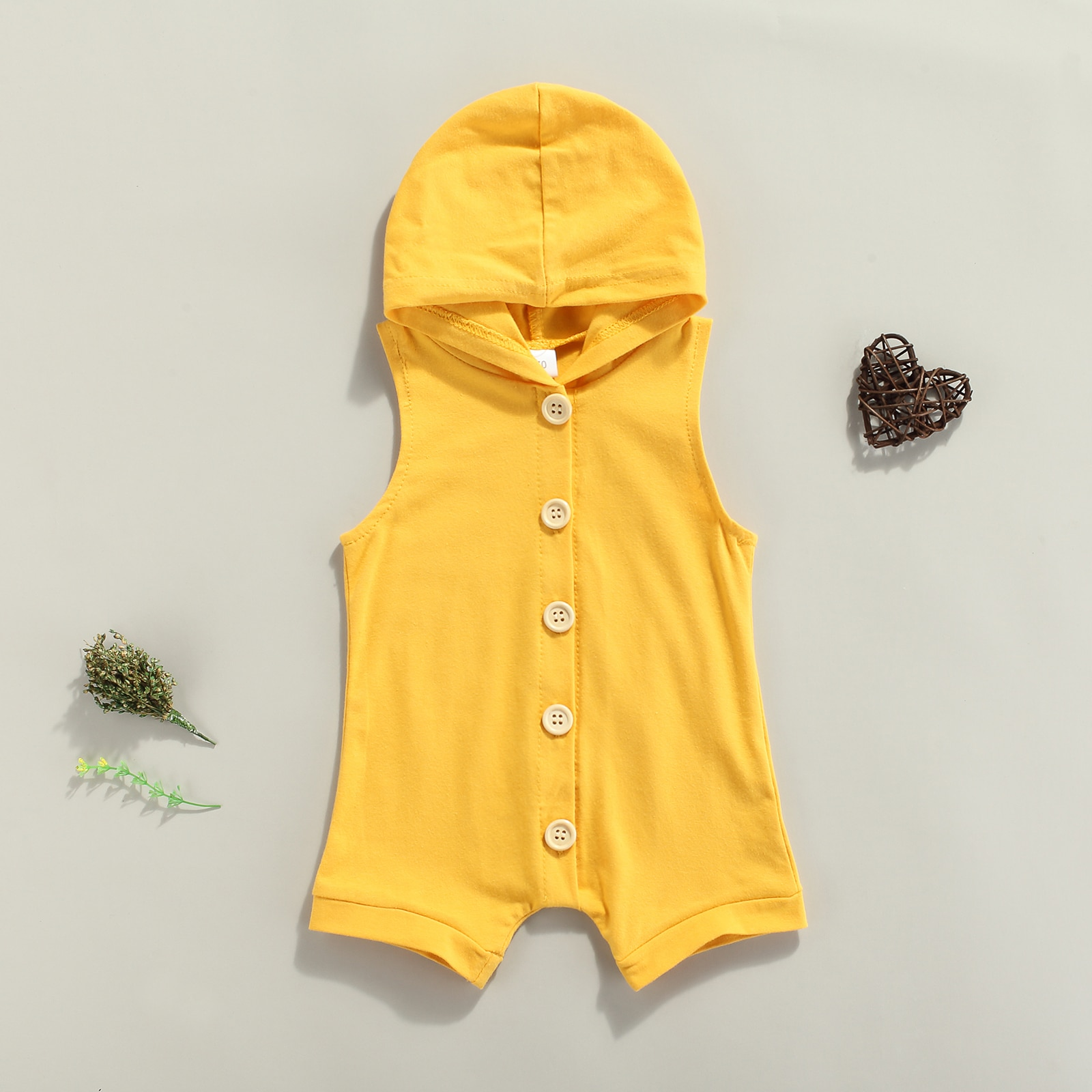 2021 Casual Breathable Baby Girls Boys Romper, Infant Summer Simple Style Solid Color Hooded Sleeveless Button Jumpsuit