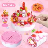 diy kitchen pretend play toys birthday cutting cake decorating party set miniature food educational childrens toys for girls