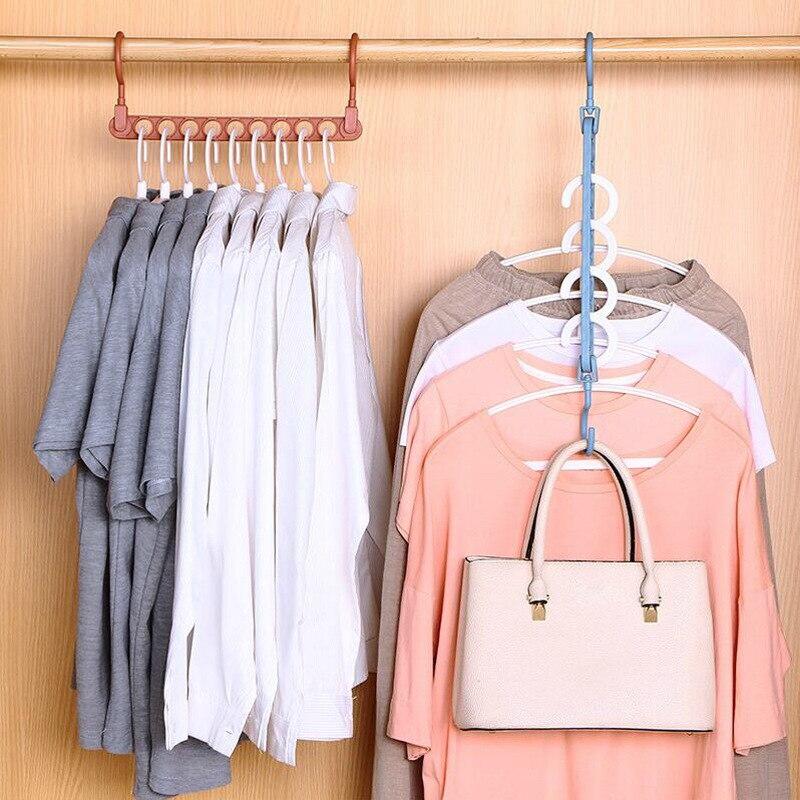 Волшебная вешалка для одежды с 9 отверстиями, многофункциональная складная вешалка, вращающаяся вешалка для одежды, гардеробный аксессуар, ...