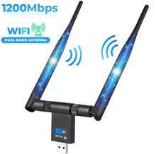 AMKLE 1200Mbps sans fil USB Wifi adaptateur double antenne USB LAN Ethernet 2.4G 5.8G double bande USB carte réseau Wifi Dongle carte