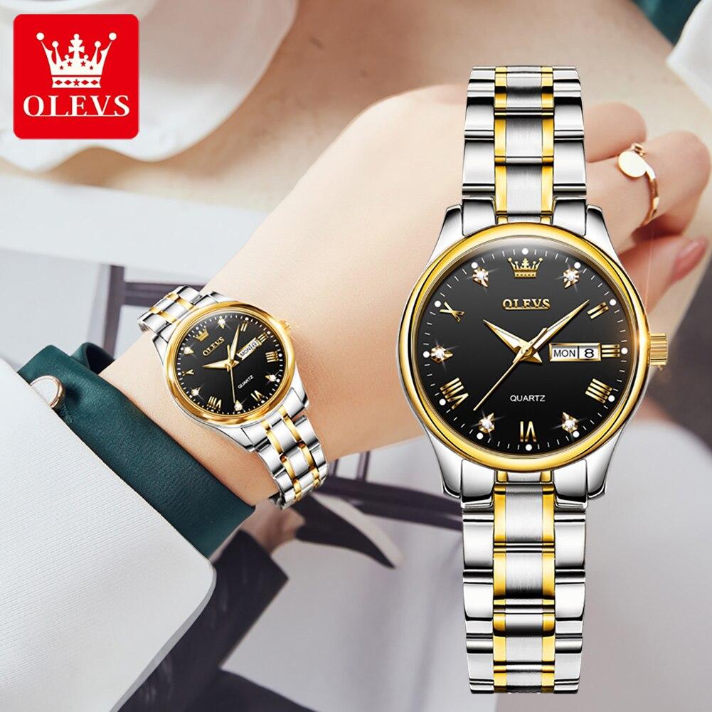 OLEVES Women Watches 2021 Luxury Brand Stainless Steel Strap Ladies Watch Week Display Calendar Wate