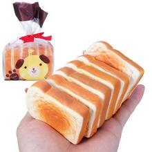 6 pièces grille-pain pain spongieux 9CM craquelin pâte avec emballage Collection cadeau peluche Jumbo Squishy tranches Toast jouet téléphone Mobile