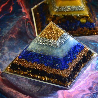 Orgonite Pyramid 7 Chakra Zadkiel Energy Crystal Eliminates Negative Energy Lapis Tourmaline Resin Pyramid Crafts