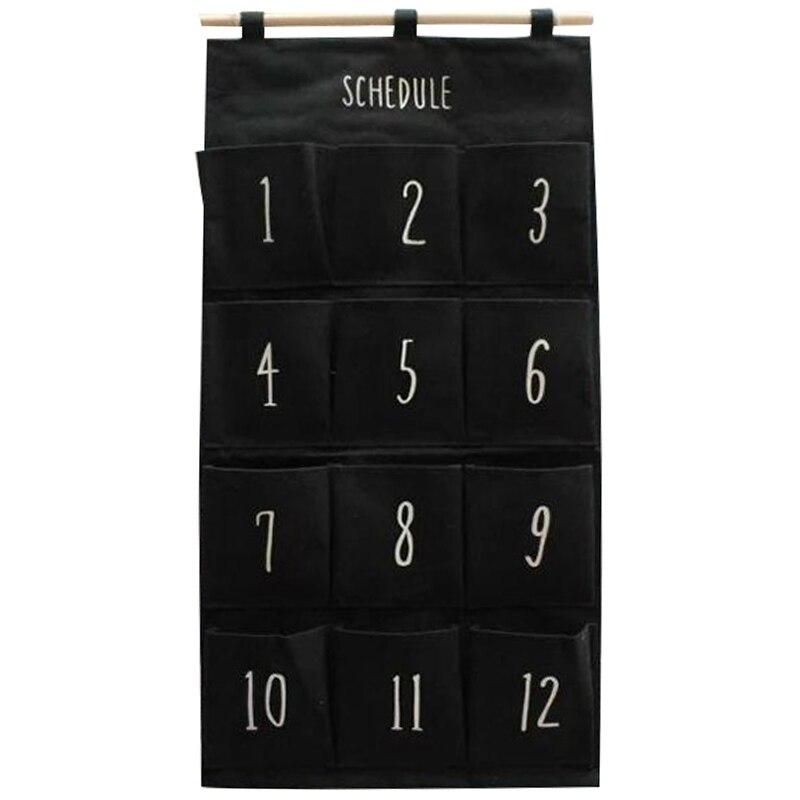 Heißer Verkauf Schwarz 12 Tasche Wand Hängende Lagerung Tasche Lagerung Tasche Spielzeug Dekorative Stoff Denim Mond Anhänger Tür Tasche Schlafzimmer kosmetische