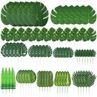 103 pieces 12 sortes feuilles de palmier artificielles avec tiges Jungle feuilles decorations pour fete decorations bricolage jardin decor a la maison