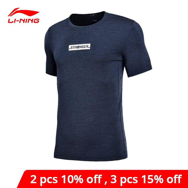 Li-Ning мужские футболки для тренировок, 88% полиэфир, 12% спандекс, дышащие, с подкладкой, li ning, спортивные футболки, ATSN091 MTS2753