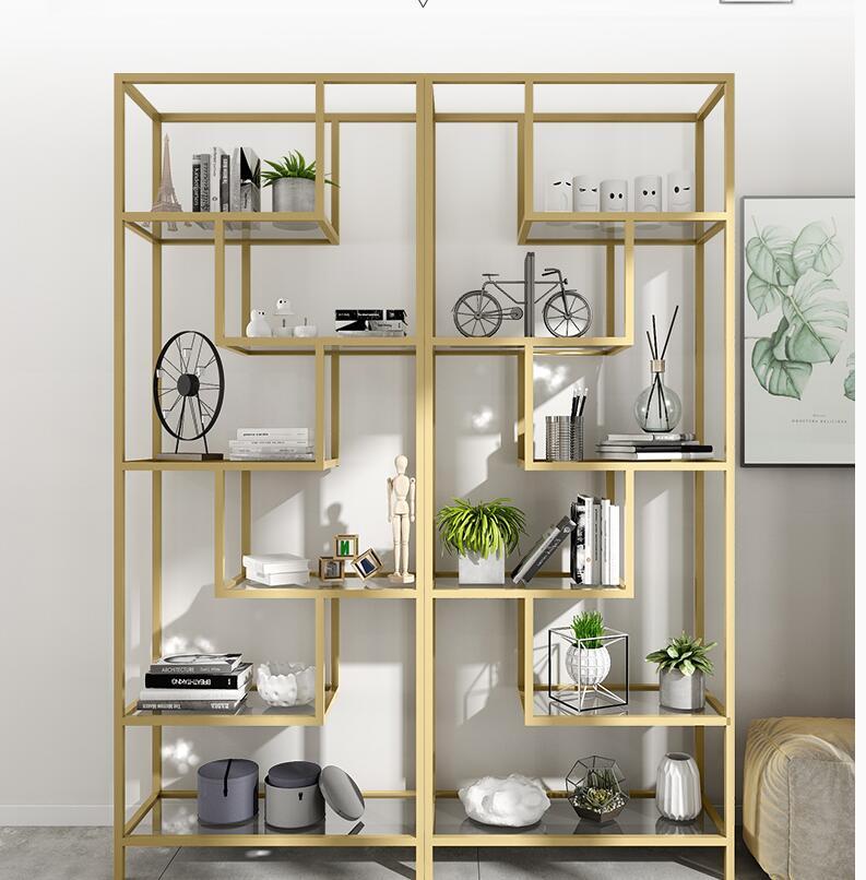 Nordic aureate estantería juegos de Arte de hierro estante de contenido de vidrio de estantería sala de estar de exhibición moderna simple y simple original