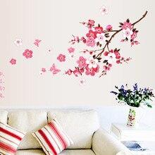 En gros belle sakura stickers muraux salon chambre décorations bricolage fleurs pvc maison stickers mural arts affiche