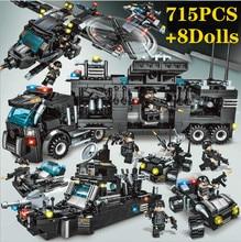 715pcs City Police Station Car Building Blocks For Lepining SWAT Team Truck House Blocks Technic Diy Toy For Boys Children