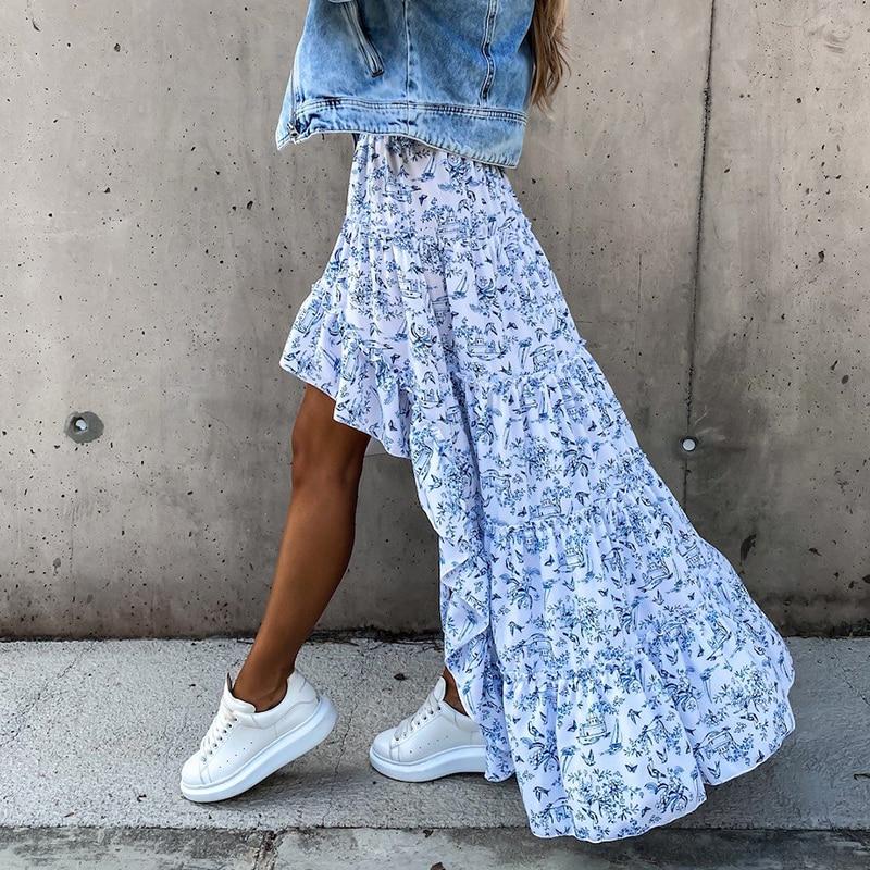 Bohemian Asymmetrical Women Long Skirt Summer Beach Style Floral Printed High Waist Casual Skirt Ins New Arrival Skirt 2021