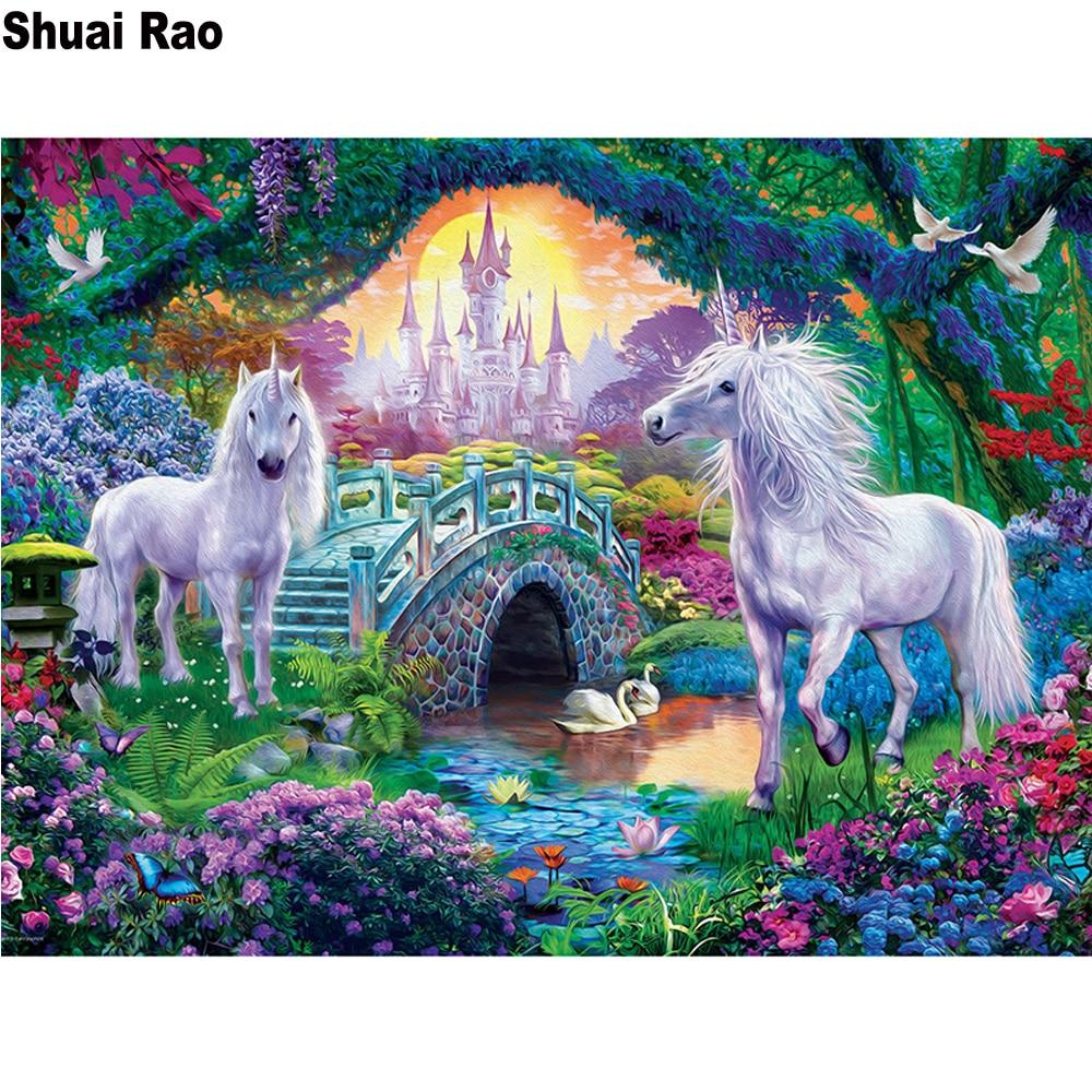 Полная квадратная Алмазная картина diy 5d с замком единорога, Алмазная мозаика, вышивка крестиком, алмазная вышивка с животными, мост, озеро, п...