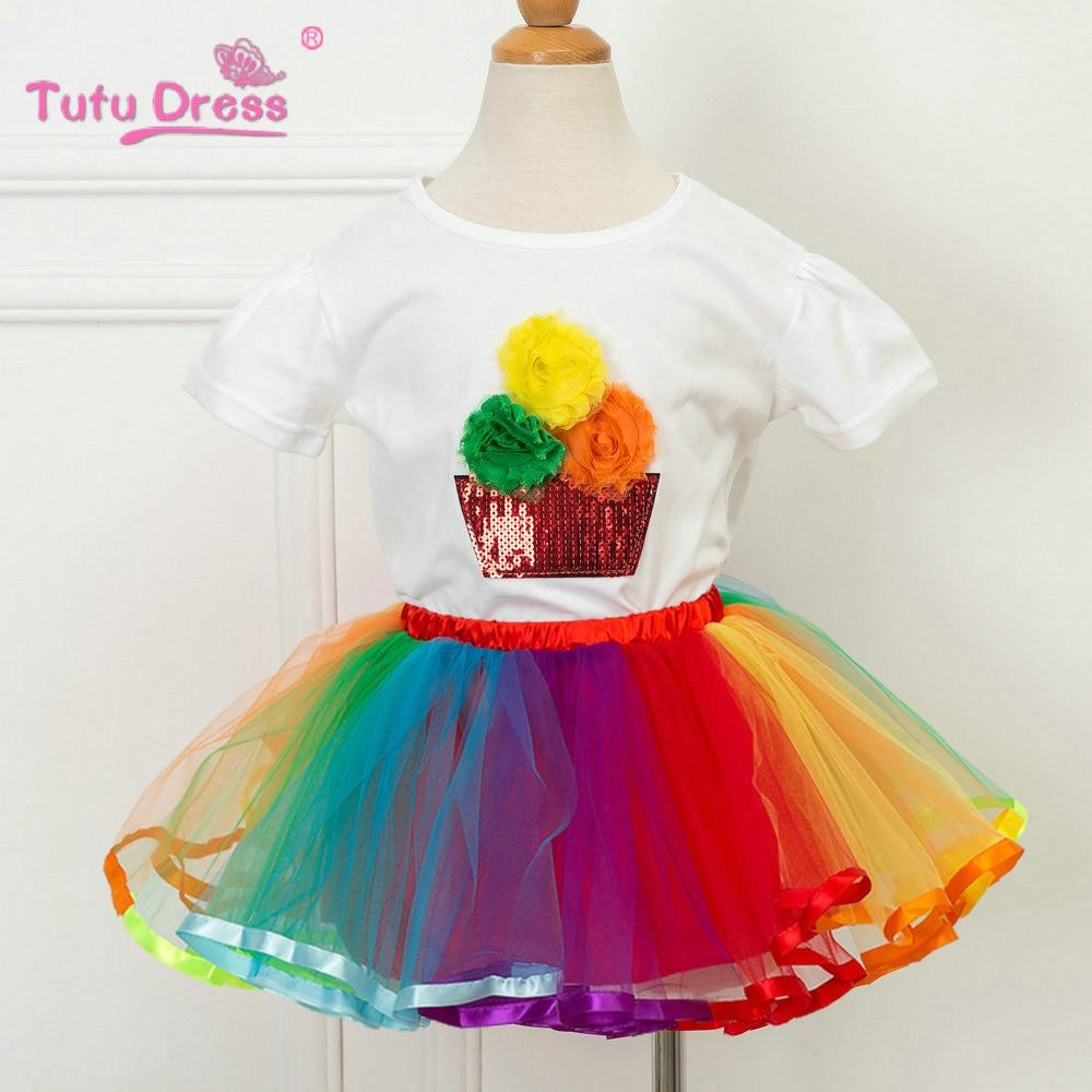 TUTUDRESS çocuk gökkuşağı giyim seti çocuk kız kıyafetler 2018 bahar yeni tasarım dans elbise