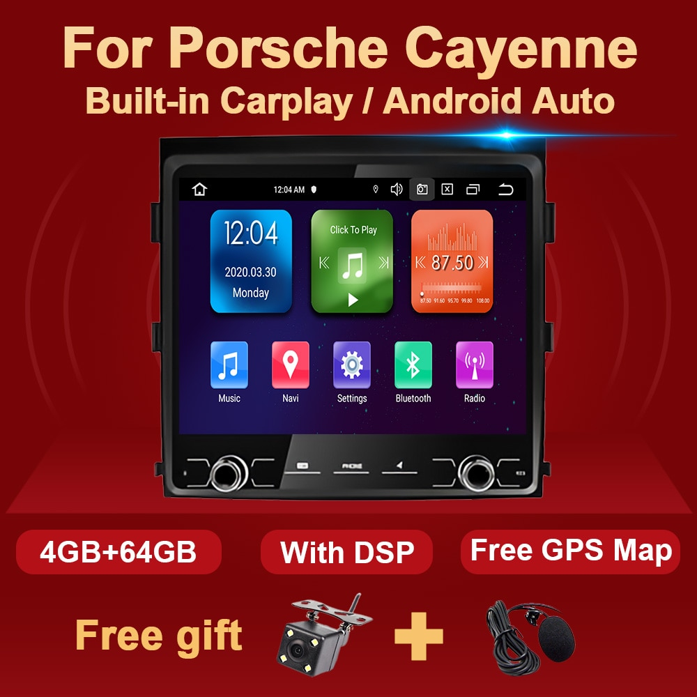 4G + 64G أندرويد 10 سيارة راديو مشغل وسائط متعددة لبورش كايين 2011-2017 8.8 بوصة شاشة Carplay أندرويد السيارات 2 الدين غس نافي