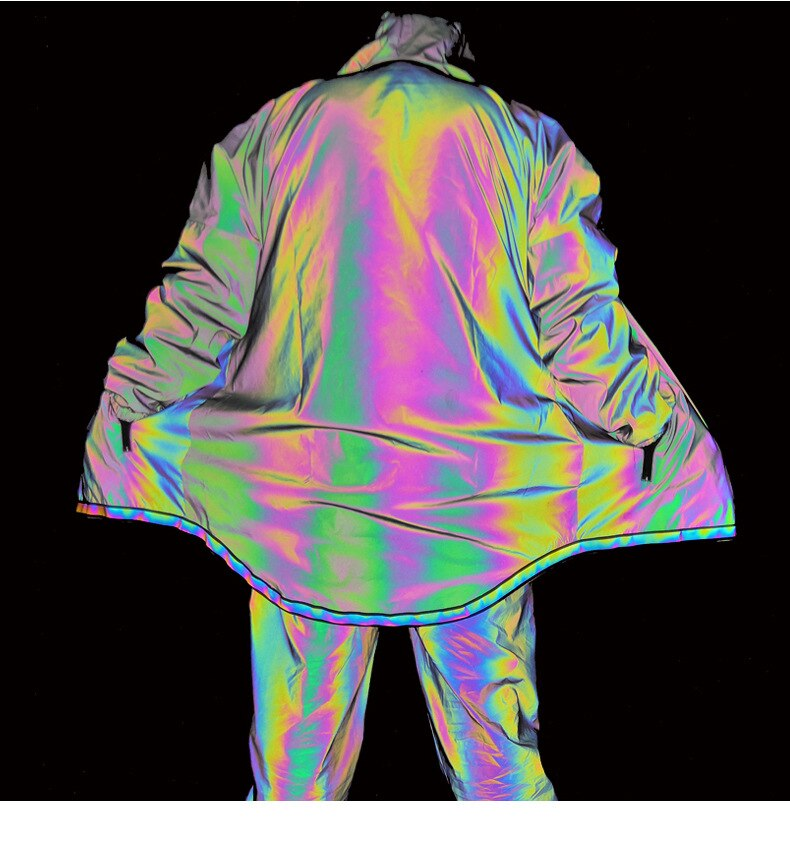 Primavera luz reflectante iluminación noche con capucha chaqueta luminosa noctilucencia fluorescente hombre niño Hip Hop abrigo aflojar brillante