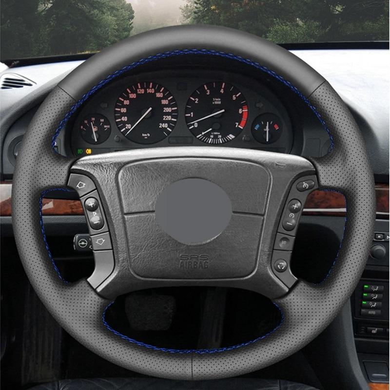 Diy mão-costurado preto alta macio couro artificial carro confortável volante capa para bmw e46 325i 318i e39 e53 x5